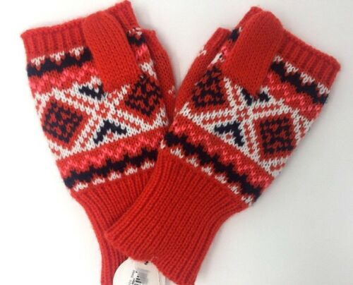 Old Navy Girls Knit Patterned Sweater Mittens in Orange (Small - Medium)