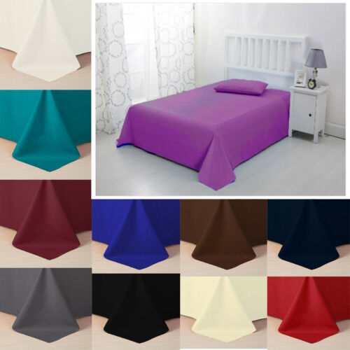 Flat Sheet Bed Sheets 50/% Poly 50/% Cotton Single Double King Super King Size