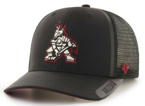 ARIZONA-PHOENIX-COYOTES-NHL-BLACK-TRUCKER-MVP-DP-SNAPBACK-HAT-CAP-NEW-039-47-BRAND