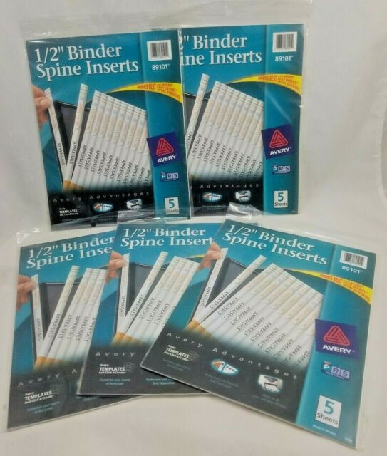 """Avery 89101 Binder Spine Inserts 1 2 Sheet: Lot Of 5 Packages 89101 Avery Binder Spine Inserts 1/2"""" 25"""