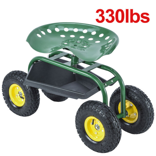 green rolling garden cart work seat with heavy duty tool tray planting gardening - Garden Cart With Seat