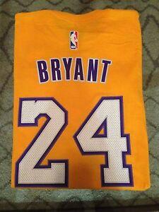 e738cd74a58b Kobe Bryant  24 Lakers Adidas Net Number T-SHIRT NBA  NEW  Gold