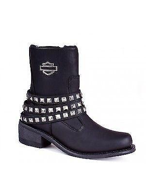 Biker Leather Harley Zip Black Studs Boots Straps Boot Kellyn Ladies Davidson qqRwaBO