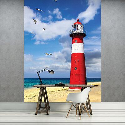 Vlies Fototapete Tapete Poster   F12429 Leuchtturm Leuchtturm Meer Natur Strand