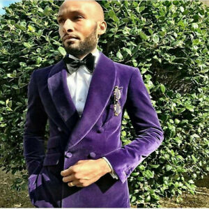Purple-Velvet-Shawl-Collar-Men-039-s-Suit-Double-Breasted-Jacket-Tuxedo-for-Party