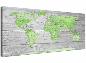 Large lime green grey world map atlas canvas wall art print 120cm image is loading large lime green grey world map atlas canvas gumiabroncs Images