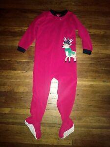 Carter/'s Girls/' Footed Fleece Pajamas Blanket Sleeper Reindeer 4T 5T