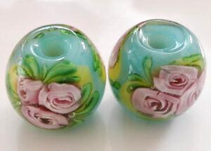 10pcs-handmade-Lampwork-glass-Beads-flower-round-blue-rose-14mm