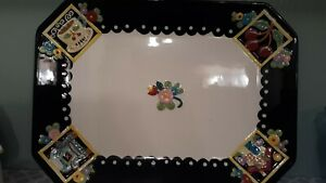 At-Home-With-Mary-Engelbreit-2001-RARE-Platter-RETIRED-Black-Yellow-15-X-11