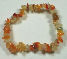 CARNELIAN STRETCH BRACELET Stone Beads Chips Crystal Healing Chakra Reiki Wicca