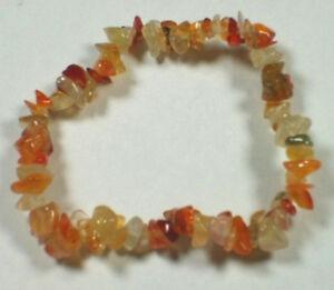 CARNELIAN-STRETCH-BRACELET-Stone-Beads-Chips-Crystal-Healing-Chakra-Reiki-Wicca