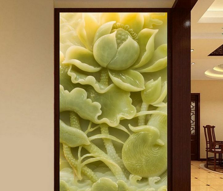 Mega 3D Carved Jade Lotus Wall Paper Wall Print Decal Wall Deco Indoor Murals
