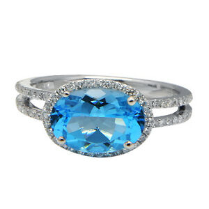 14K-WHITE-GOLD-PAVE-DIAMOND-BLUE-TOPAZ-COCKTAIL-HALO-ENGAGEMENT-GEMSTONE-RING