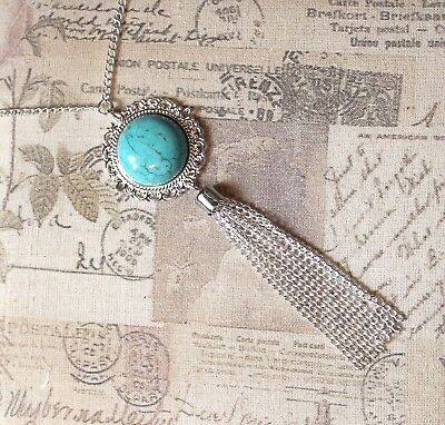 New 1920s Style Long Chain Necklace with Tassle Pendant in Black Silver or Teal
