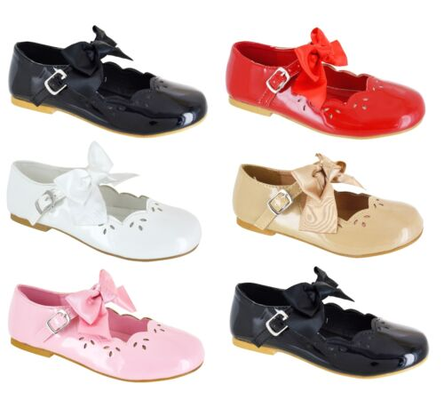 CHILDRENS BOW STYLE PARTY WEDDING BRIDESMAID PUMPS KIDS GIRLS LOW HEEL SHOES SZ