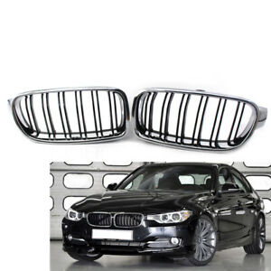 Front Kidney Grill Chrome Frame /& Black Fence M3 Look Grille Compatible for BMW F30//F31 3-Series 2012-2018 12 15