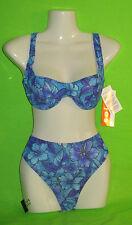 SOLAR Tan Thru durchbräunender Bikini Gr 40 B CUP Bügelbikini NEU blau Blumen