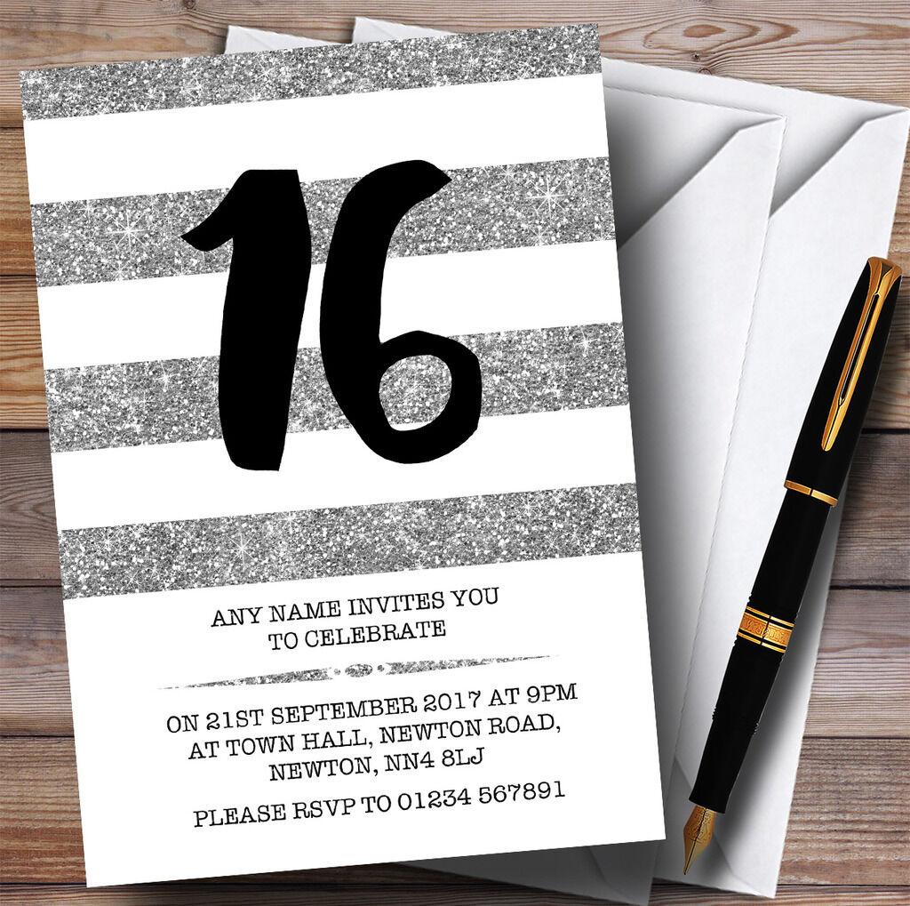 Paillettes argent & blanc rayures 16th personnalisé invitations fête d'anniversaire invitations personnalisé a5787e