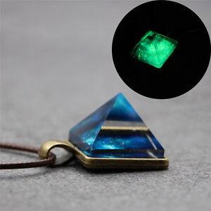 Pyramide natürliche leuchtende`Schönheit Anhänger leuchtende Stern HalskettRSPF