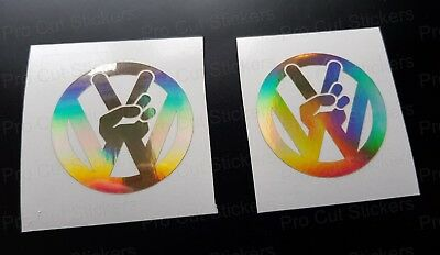 PEACE x2 Silver Hologram Mirror Neo Chrome Car Stickers Decals Campers Van
