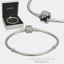 "Authentic Pandora Silver Bracelet Signature Lock 8.3"" Hinged Box 590723CZ-21"