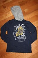 Gymboree Junior Stunt Double Size 6 Navy Blue Hooded Motorcycle Shirt Top