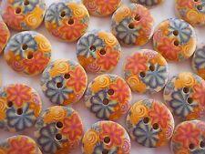 Sale! 95x Wood Embellishment Buttons - Beautiful Flower Mix Button Applique!