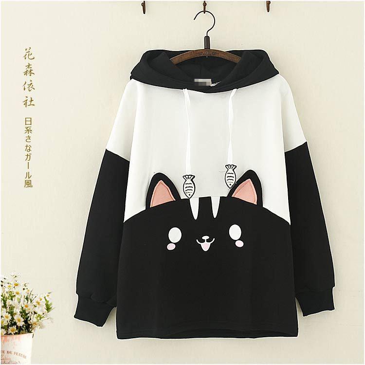 Japanese Mori Girls Kawaii Cat Printed Hoodie Long Sleeve Hooded Coat Cute