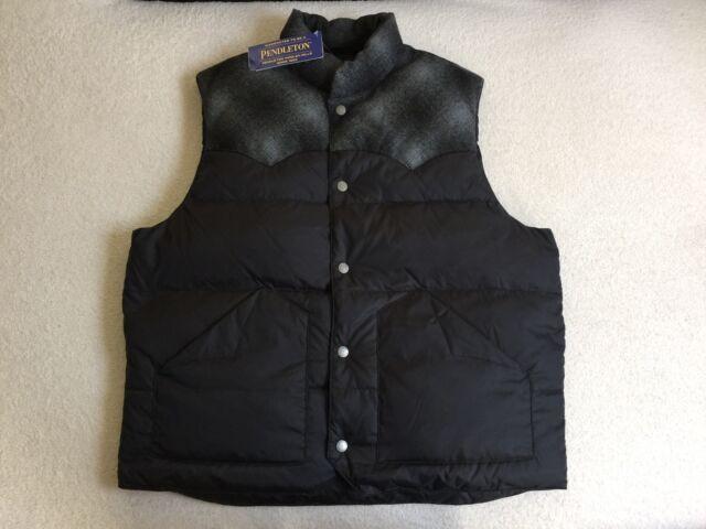 RARE🔥 Pendleton Down Puffer Vest Snap Button Sz L Black Buffalo Plaid Duck