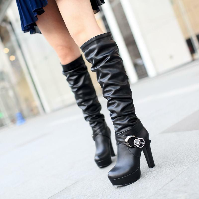Ladies Buckle Strap Platform Pleated Pull On Thight High Boots Block Heel shoes