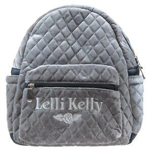 Lelli-kelly-LK8399-AR01-Use-Matelasse-Gris-Velours-Ecole-Sac-a-Dos