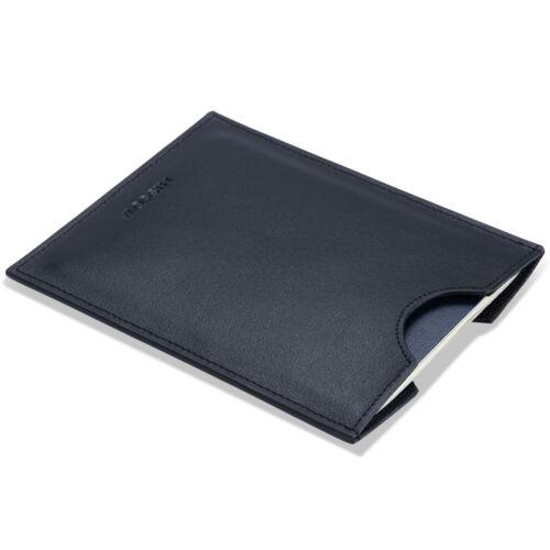 HISCOW Minimalist Passport Sleeve Cover Holder Black Italian Genuine Leather Men