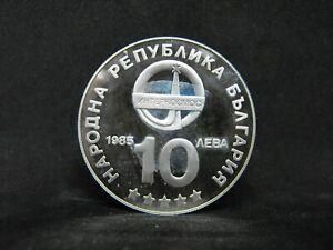 BULGARIA-10-LEVA-1985-SILVER-PROOF-INTERCOSMOS-1945