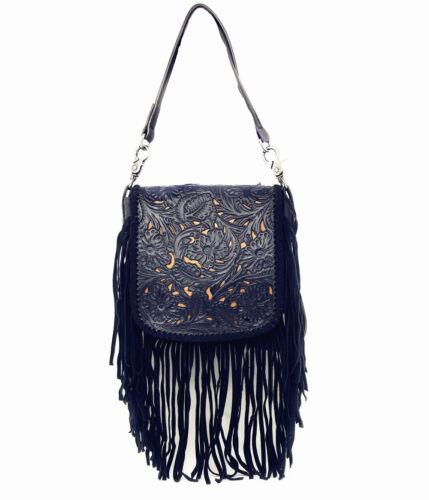 Western Genuine Leather Cowgirl Crossbody Messenger Fringe Laser Cut Purse Bag