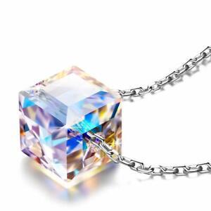 Cubo De Cristal Swarovski Elements Colar Pingente Halo 18K Ouro ...