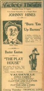 Advertising-Newspaper-Buster-Keaton-Johnny-Hines-Vaudeville-Evansville-1921