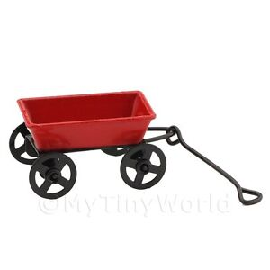 Details about Dolls House Miniature Red Old Fashioned Metal Pull Along Cart