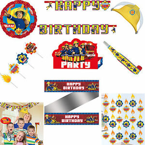 Fireman Sam Happy Birthday Decorations Selfie Photo Props Blowouts