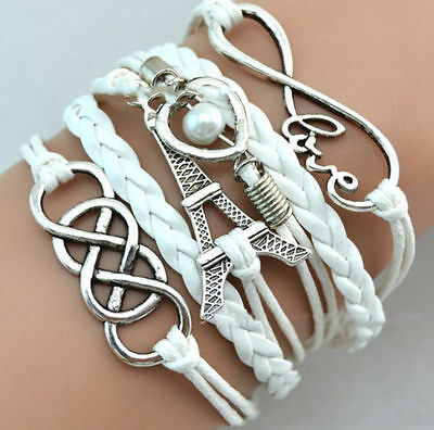 Hot Infinity Love Heart Tower Friendship Antique Silver Leather Charm Bracelet