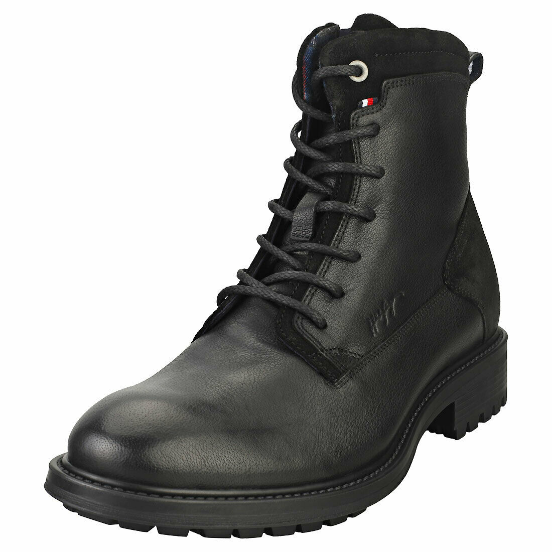 Tommy Hilfiger Creative Mix Zip Mens Black Leather Casual Boots