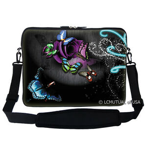 "17.3/"" 17/"" Neoprene Laptop Bag Sleeve with Pocket Shoulder Strap Handle 2906"