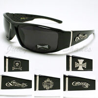 CHOPPERS MEN'S Sunglasses With LOGOS BIKER MOTORCYCL Fashion Shades BLACK