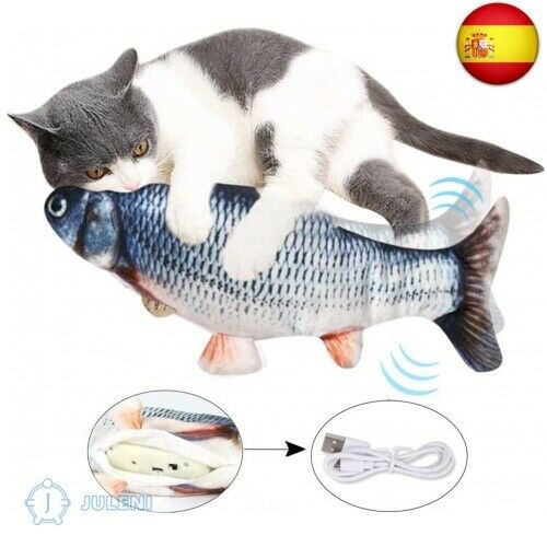 Juguetes para Gatos, Simulación Realista de Felpa Pez muñeca eléctrica, Pe