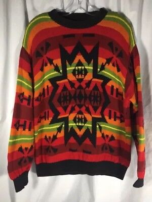 Italian Made BENETTON Aztec Tribal Wool Hooded Fur Jacket