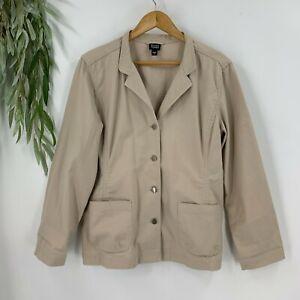 Eileen Fisher Womens Jacket Blazer Size Large L Khaki Tan Cotton Stretch K9