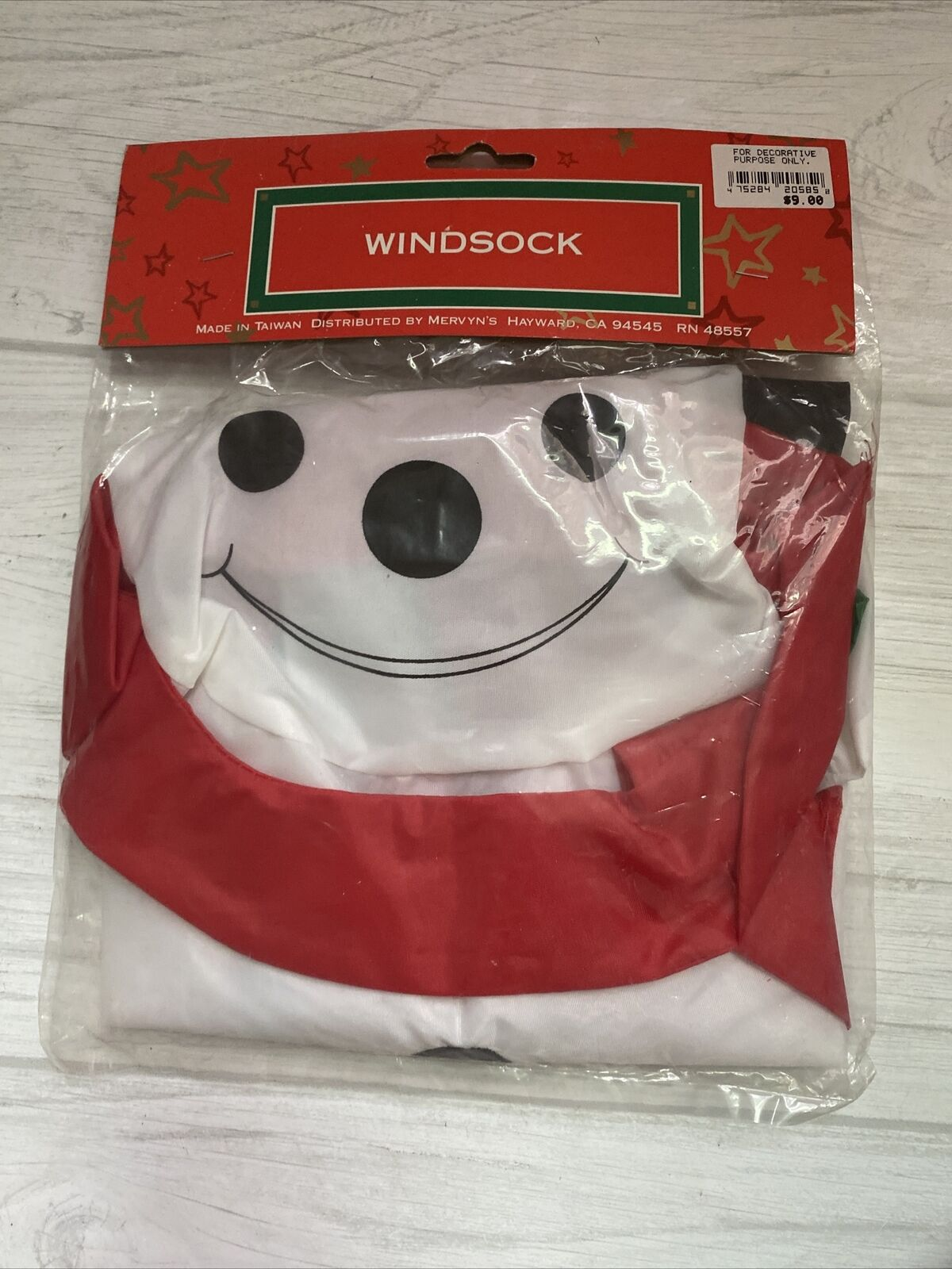 Vintage Snowman WindSock Outdoor Decoration Wind Sock Taiwan NOS
