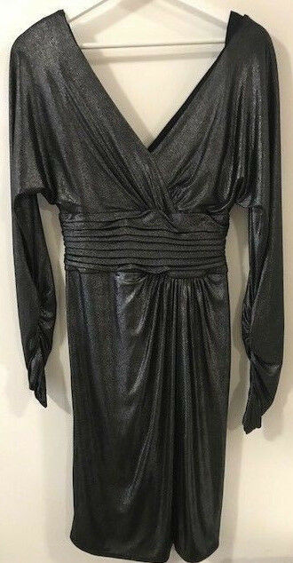 Tadashi Collection evening elegant grey metallic long sleeve dress women size XS