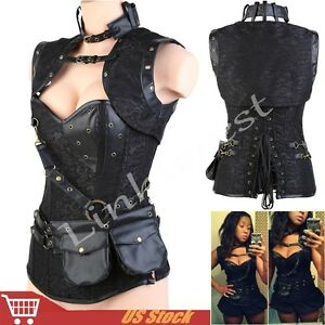 New-Gothic-Corset-Steampunk-Black-Bustier-Fancy-Lingerie-Steel-Boned-Top-Costume