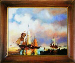 Painting-Oil-Picture-Frame-Schiffsfahrt-Ships-G06113