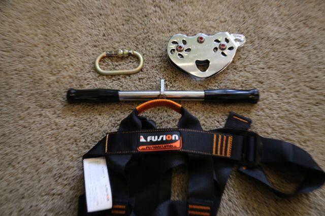 Stainless Zipline Trolley Handle Bars +Adult Harness + Carabineer Zip Line Parts